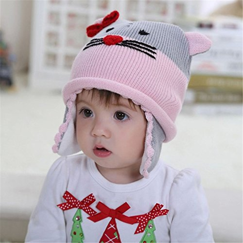 童帽女灰粉色猫猫宝宝针织帽子儿童动物帽宝宝护耳帽冬季保暖帽子毛线