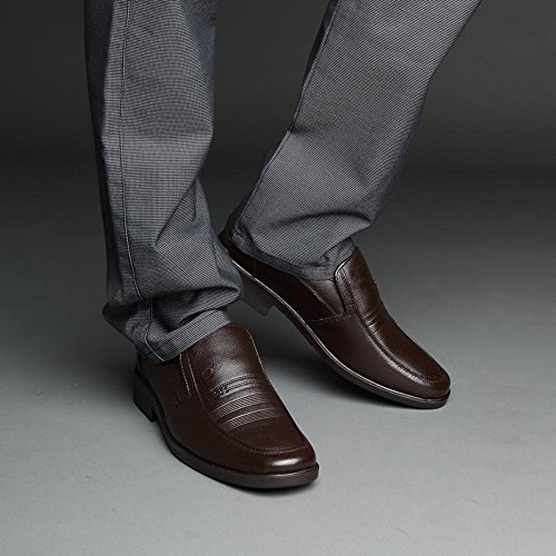 Yulu 优牛 时尚经典英伦潮流休闲商务男鞋简约套脚正装皮鞋低帮真皮皮鞋