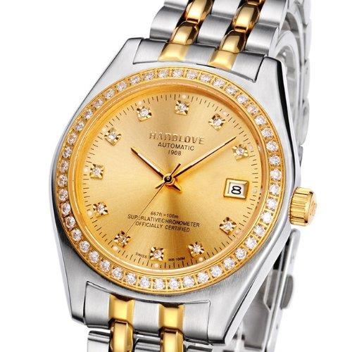 汉爱在瑞士手表排名_hand love/汉爱瑞士汉爱全自动机械情侣手表水钻女表防水时尚女表-女