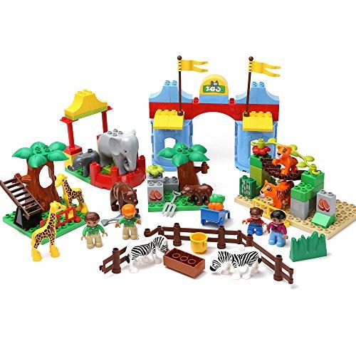 百麒优品 儿童拼插积木 大型动物园系列大颗粒拼装积木 2-4岁宝宝益智