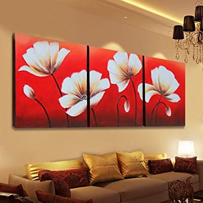 普赛克 100%纯手绘油画装饰画欧式壁画沙发挂画富贵花