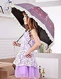 YaGao雅高 遮阳伞防晒花边 太阳伞蕾丝黑胶防紫外线 雨伞折叠YS18 洋粉色-图片
