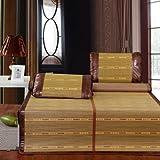 Deibs 黛芭莎 尊贵优雅凉席 竹席三件套 席子 双面两用 100%天然老竹 竹席 凉席 150×195cm Z002 阳光磨光席-图片