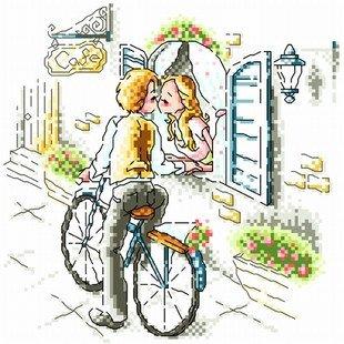 大幅客厅卧室欧式卡通油画接吻情侣
