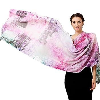 Glovin 女式 G15024035 古典马车喷绘 羊毛围巾