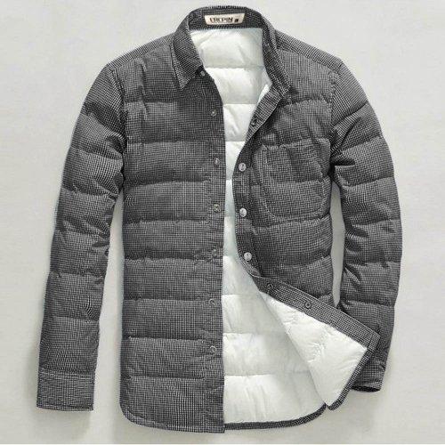 衣然呈品 2014秋冬新男士休闲羽绒衬衫 修身衬衣男加肥加大保暖羽绒衬衫 GC446