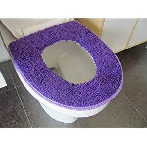 暖鑫 雪尼尔加厚马桶垫坐便套马桶套座便器套 (蓝紫色