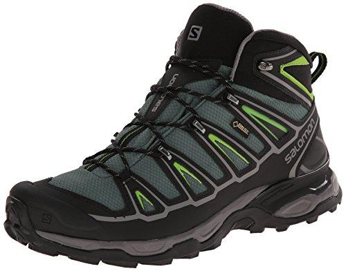 Salomon Men's X Ultra Mid 2 GTX Multifunctional Hiking Boot, Beetle Green/Black/Spring Green, 11 M US
