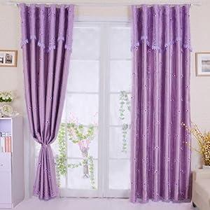 绣花纱遮光一点红卧室窗帘ajm-itsn055紫色