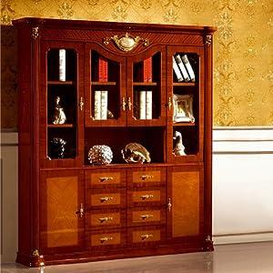 盛唐时代 美式书房书柜 描金雕花实木四门书柜 贵族书架 s-998