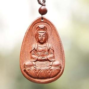 艺把手 印度天然小叶紫檀木观音吊坠手工雕刻木牌挂件