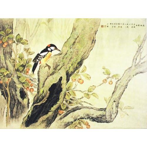 颂风无框油画 中国工笔重彩画系列之古木迎春 JD13139 40 30cm