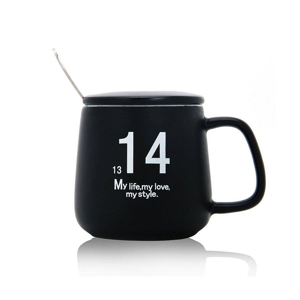 fresh lock创意黑白一生一世马克咖啡杯 带盖带勺陶瓷