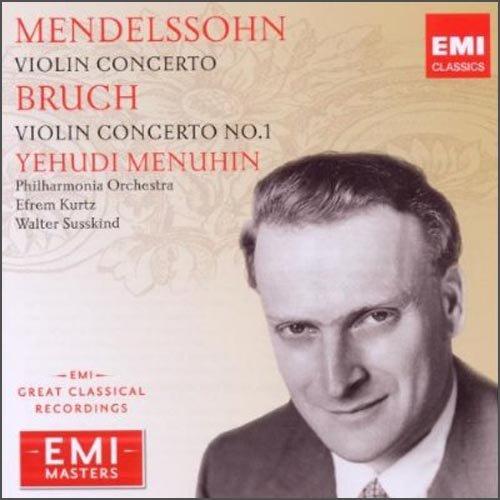 进口CD:曼纽因演奏门德尔颂与布鲁赫小提琴协奏曲EMI大师...