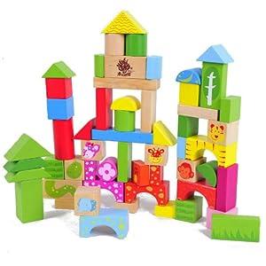 木头玩国 57粒动物场景木质积木 益智智力木制玩具 儿童宝宝启蒙积木
