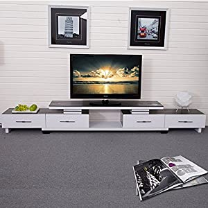 乐家 电视柜简约现代烤漆伸缩电视机柜茶几组合钢化玻璃影视柜家具
