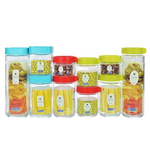 Glass lock 三光云彩 加厚优质玻璃积木式保鲜罐十件套