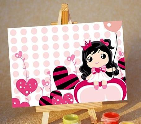 佳彩天颜 手绘数字油画diy可批发 可爱迷你卡通人物儿童画 快乐女孩