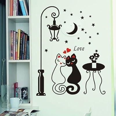 口口 墙贴 路灯下的猫咪墙纸 壁布 墙贴 贴 卡通 玄关