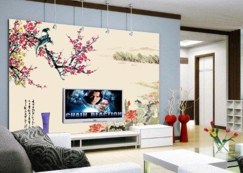 喜上眉梢壁画 中式电视背景墙
