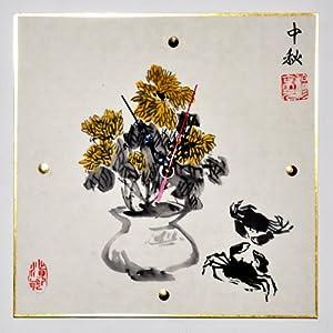 商品描述 商品描述         q.y绮影手绘挂钟,纸质画框水墨手绘.