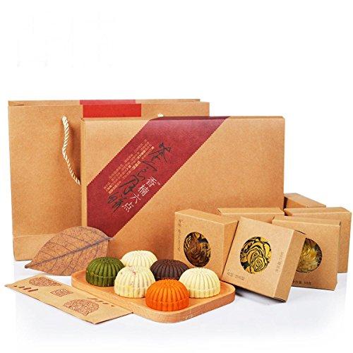 香楠六点茶食月饼 抹茶/木瓜/芒果/榛子/鲜花糕点点心月饼礼盒300g-图片