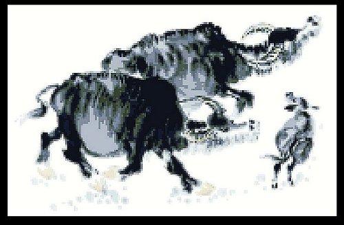 万众家园 十字绣 客厅动物画 水墨牛之望 9ct 朵拉线