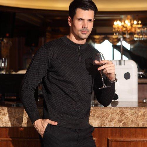 鹿王·澳普蒂姆 中老年男装毛衣 中年男半高领拉链加厚针织衫上衣 保暖外套线衫