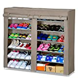 ARRIC 艾睿客 简易鞋柜 加厚无纺布双排6层鞋橱 大容量鞋架柜子 防尘收纳柜 储物柜 1706C (咖啡色 120*30*108cm)(厂家直送)-图片