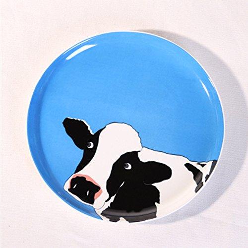 恒庭 盘 创意陶瓷盘子 西餐盘 8寸卡通可爱动物盘 (奶牛)