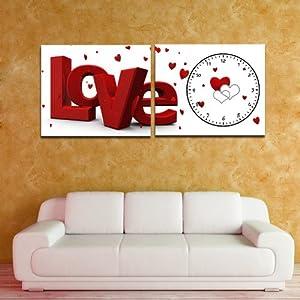 美时美刻 love字母挂钟 现代客厅卧室背景钟表无框装饰画壁画两联图片
