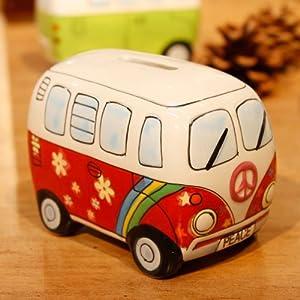 儿童节礼物 手绘陶瓷汽车储蓄罐 创意可爱复古存钱罐大众经典摆件