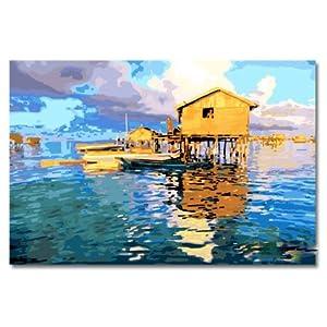 自油自画 数字油画diy 特价 手绘客厅动物大幅壁画 大海之约 60x90