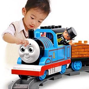 集鑫托马斯小火车礼盒套装 电动音乐小火车积木益智轨道玩具 男孩儿