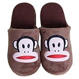 VooChoo 卧趣 家居拖鞋 情侣款 可爱居家卡通大嘴猴拖鞋 冬季保暖地板棉 拖鞋 适合43-44脚 大嘴猴 咖啡色-图片