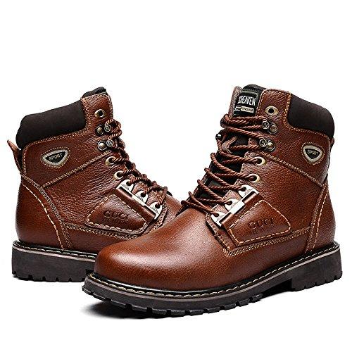 古奇天伦 5692 头层牛皮男鞋 硬汉休闲工装鞋 保暖工装靴子