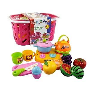 过家家玩具 水果篮 水果蔬菜切切看 切水果 环保塑胶玩具 3C认证