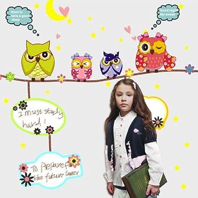 yimt 宜美贴 猫头鹰照片贴 儿童房卧室背景墙彩色涂鸦