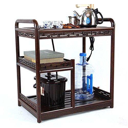 移动实木茶具套装整套功夫茶具多功能一体茶车茶桌套组-黑檀木kw6300a