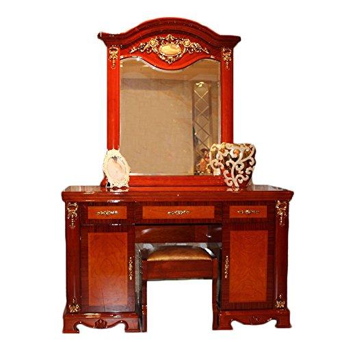 御品工匠 简约实木梳妆台欧式田园家具卧室豪华小梳妆桌大镜子 红色