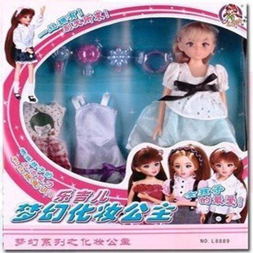 乐吉儿 梦幻化妆公仔洋娃娃布娃娃公主可爱女孩 玩具l8889 c浅蓝