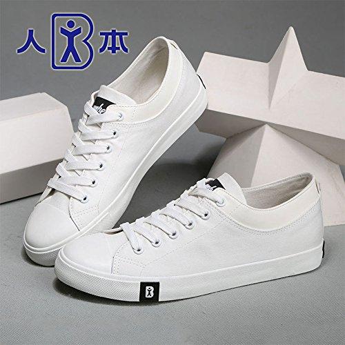 人本帆布鞋男 2015春夏细斜纹帆布鞋 韩版潮流纯色简约板鞋男 7233
