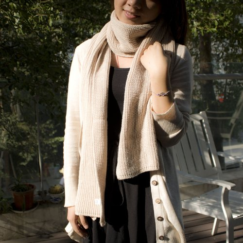 MiuColor 米悠本色 冬季保暖 加长款 针织围巾围脖 针织披肩 (米白色)-图片