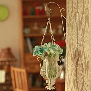 橡树庄园 欧式田园风白色铁艺吊花瓶 阳台栏杆悬挂吊篮 酒店壁饰