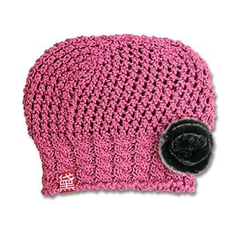 黛秀爱 帽子 女冬天镂空毛线帽韩版冬季女士针织帽可爱兔毛花倁秀