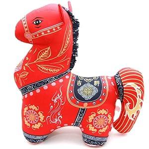 马年吉祥物如意布艺马娃娃毛绒玩具新年马公仔招财红福马 (35cm)