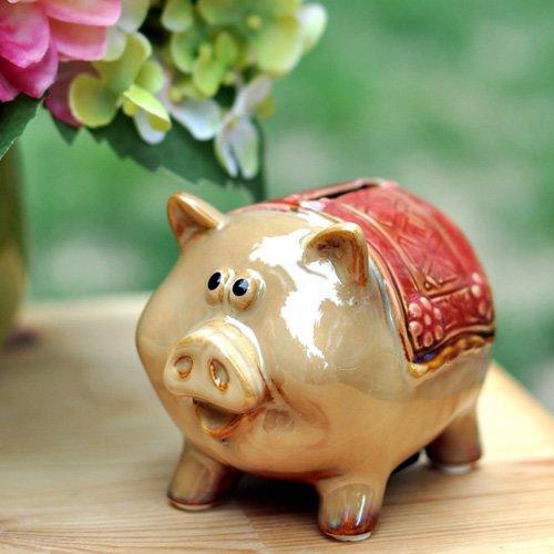house 欧美风格陶瓷工艺品摆件生日礼物 储蓄罐 小动物存钱罐四款 猪