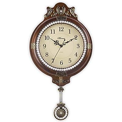 汉时钟表 欧式静音挂钟 摇摆仿古客厅餐厅 创意石英钟
