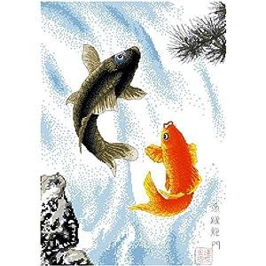 万众家园 十字绣 客厅动物画 鲤鱼跃龙门 11ct rs线 3