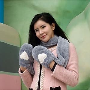 大眼猫 韩版女男情侣冬季可爱毛绒保暖加厚连帽围脖帽子围巾手套一体